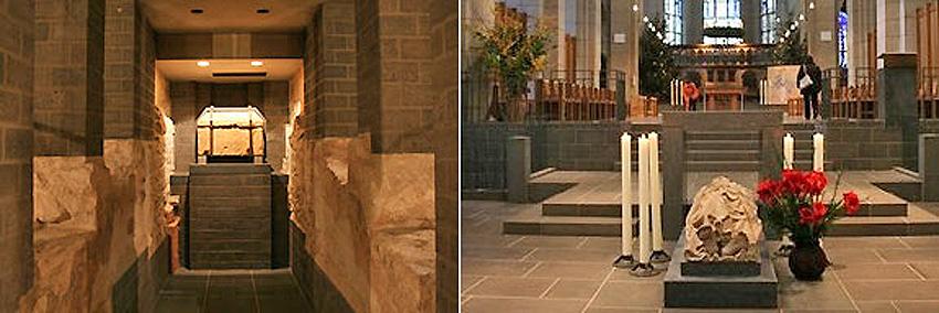 Das Matthiasgrab: Der Legende folgend, hat Helena, die Mutter Kaiser Konstantins, die Gebeine des Apostels Matthias im 4. Jahrhundert nach Trier gebracht. Sie ruhen jetzt nach der Neugestaltung der Basilika in einem Schrein in der Krypta. Darüber befindet sich die abgebildete gotische Liegefigur des Heiligen.