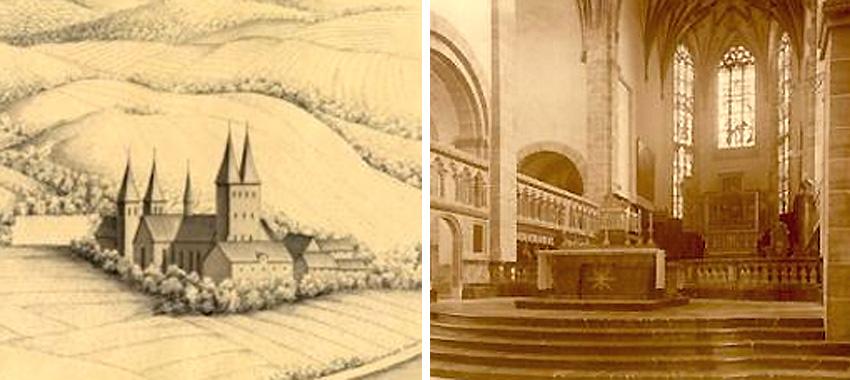 Eine Ansicht um 1649, nach Stich von Merian. Altarraum u. Chor mit Matthiasaltar von 1927 und neugotischem Hochaltar von 1909.