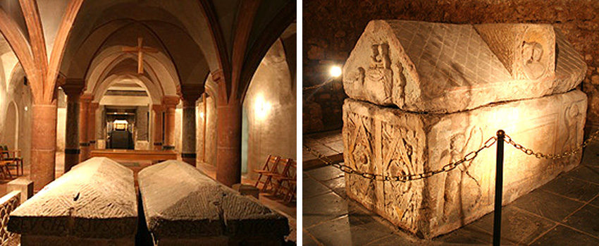 Krypta mit Gräbern von Eucharius und Valerius. Die Grabgruft mit Sarkophag der Albana